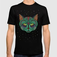 Intergalactic Cat Mens Fitted Tee Black SMALL
