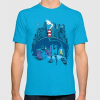 The Cat in the Underground Flat Mens Fitted Tee Teal SMALL
