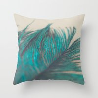 Turquoise Feather Abstra… Throw Pillow