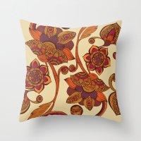 Boho Flowers Throw Pillow