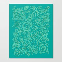 Green Blooms Canvas Print