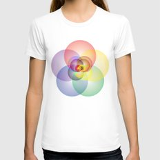 Colored Circles Womens Fitted Tee White SMALL