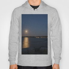 Moon light reflection Rockport Harbor Hoody