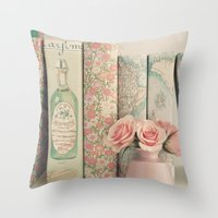 Pink Peonies and books Throw Pillow