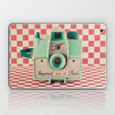 Mint Retro Camera on Red Chequered Background  Laptop & iPad Skin