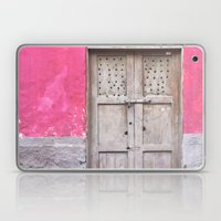 Grey Door on Pink Wall (Retro and Vintage Urban, architecture photography) Laptop & iPad Skin