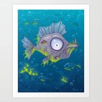 Zombie Fish Art Print