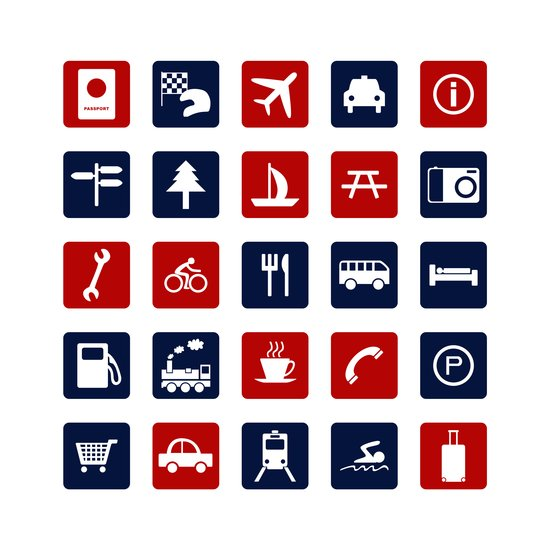 Travel Icons in RWB Art Print