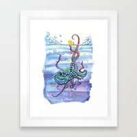 Bath Time Octopus Framed Art Print