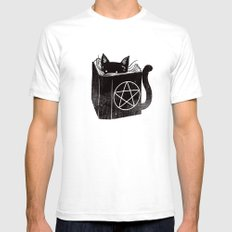 Witchcraft Cat SMALL White Mens Fitted Tee