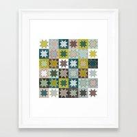 Winter Quilt Folk Pattern Framed Art Print