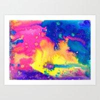 rainbow nebula - tie dye watercolor abstract Art Print
