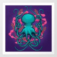 Octupus And Coral Art Print
