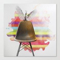 cockatoo on eames chair rainbow colours Canvas Print