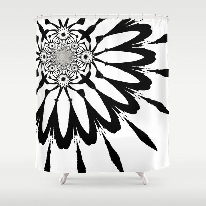 White Black Modern Flower Shower Curtain By 2sweet4words Designs Society6