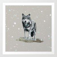SNOW WOLF Art Print
