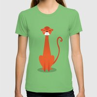 Cat Womens Fitted Tee Grass SMALL