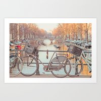 Canal Bicycles Art Print