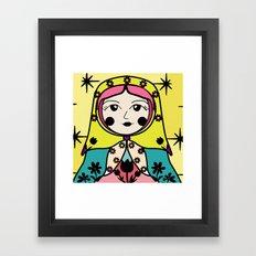 Matryoshka russian doll colorful illustration wall decor - Tatiana Framed Art Print