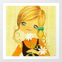 Sunshine Flower Girl Art Print