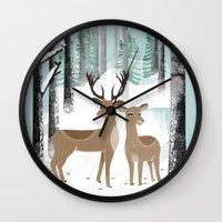 Winter Deer By Andrea La… Wall Clock