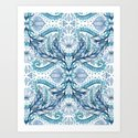 Lily, Leaf & Triangle Pattern – blues Art Print