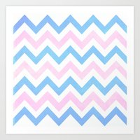 Blue Pink Chevron Patter… Art Print