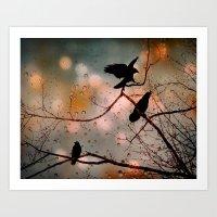 Rainy Day Crows Art Print