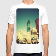 Chicago Retro Skyline ~ architecture White SMALL Mens Fitted Tee
