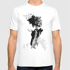 LADY BIRD White Mens Fitted Tee SMALL