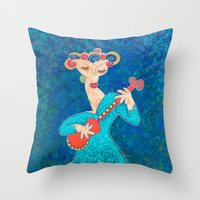 Red Guitar Throw Pillow