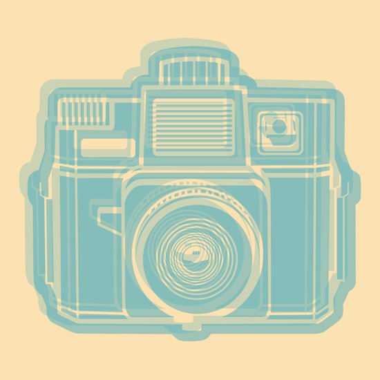 I Still Shoot Film Holga Logo - Reversed Turquoise/Tan Canvas Print