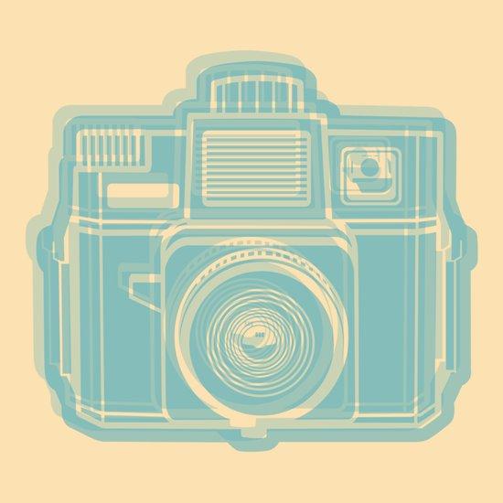 I Still Shoot Film Holga Logo - Reversed Turquoise/Tan Art Print