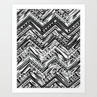 BW ETHNIC CHEVRON Art Print