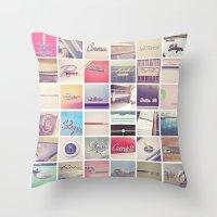 Emblem Colorblock White Throw Pillow