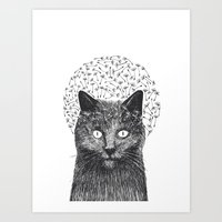 Dandelion Black Cat Art Print