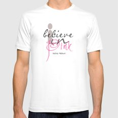 I believe in Pink Audrey Hepburn White SMALL Mens Fitted Tee