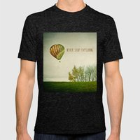Never Stop Exploring ( Air Balloon) Mens Fitted Tee Tri-Black SMALL
