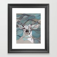 Aqua Deer  Framed Art Print