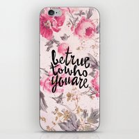 Vintage Floral Girly Pink Roses Pattern Be True iPhone & iPod Skin