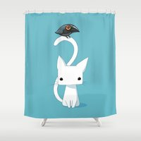 Cat And Raven Shower Curtain