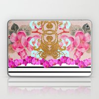 Fashion Girly Pink Vintage Floral Trendy Stripes Pattern Laptop & iPad Skin