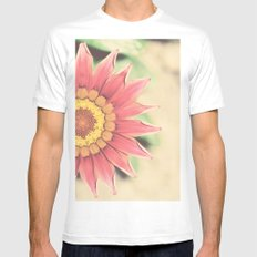 Red flower White SMALL Mens Fitted Tee