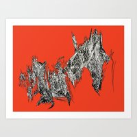 Waterfall in Red Art Print