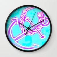 Bright Preppy Anchor Print, hand drawn Wall Clock