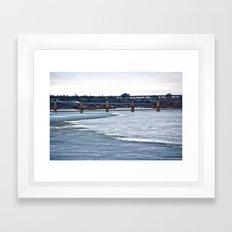 Bridges on the Icy River Framed Art Print