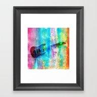 Rainbow Guitar Framed Art Print
