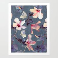 flower Art Prints featuring Butterflies and Hibiscus Flowers - a painted pattern by micklyn