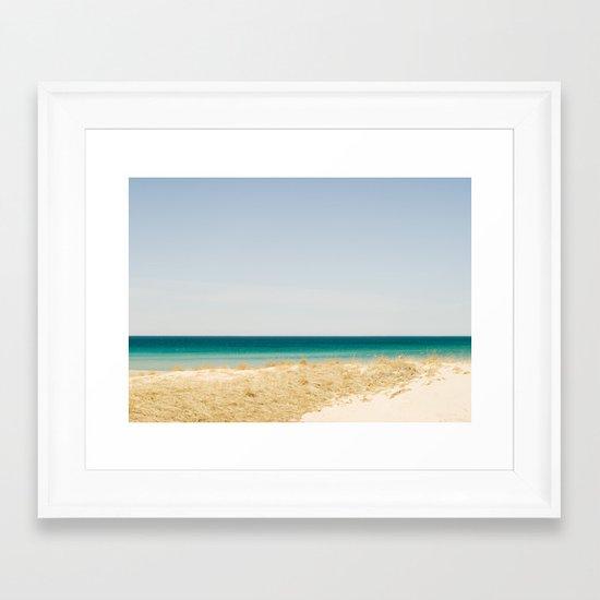 Seashore Blue Line Framed Art Print