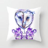 Owl and Irises Throw Pillow